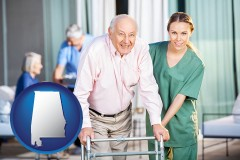alabama map icon and nursing care in a nursing home