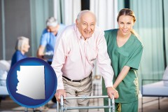 arizona map icon and nursing care in a nursing home