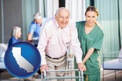 california map icon and nursing care in a nursing home