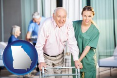 ga map icon and nursing care in a nursing home