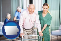 iowa map icon and nursing care in a nursing home