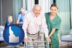 idaho map icon and nursing care in a nursing home