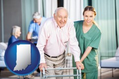 indiana map icon and nursing care in a nursing home