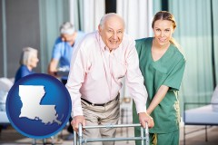 louisiana map icon and nursing care in a nursing home