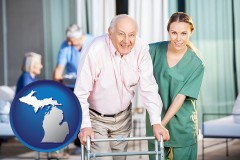 michigan map icon and nursing care in a nursing home