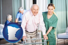 minnesota map icon and nursing care in a nursing home