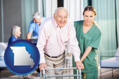 missouri map icon and nursing care in a nursing home