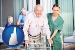 new-hampshire map icon and nursing care in a nursing home