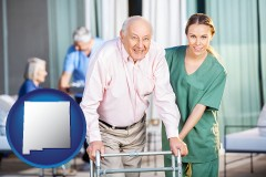 new-mexico map icon and nursing care in a nursing home