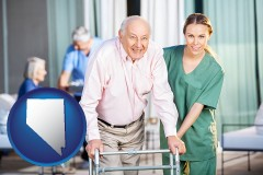 nevada map icon and nursing care in a nursing home