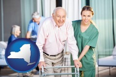 new-york map icon and nursing care in a nursing home