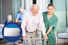pennsylvania map icon and nursing care in a nursing home