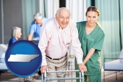 tennessee map icon and nursing care in a nursing home