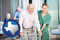 texas map icon and nursing care in a nursing home