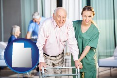 utah map icon and nursing care in a nursing home
