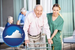 virginia map icon and nursing care in a nursing home