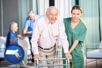 nursing care in a nursing home - with Massachusetts icon