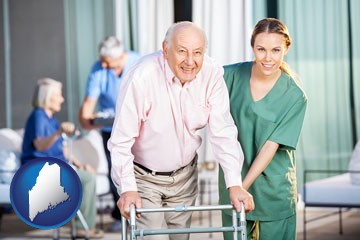 nursing care in a nursing home - with Maine icon