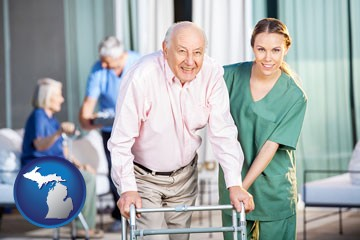 nursing care in a nursing home - with Michigan icon