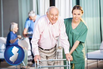 nursing care in a nursing home - with New Jersey icon