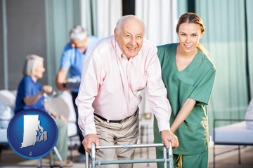 nursing care in a nursing home - with Rhode Island icon