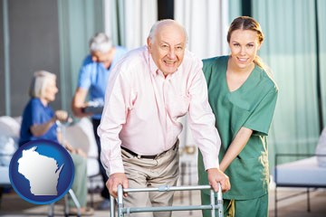 nursing care in a nursing home - with Wisconsin icon