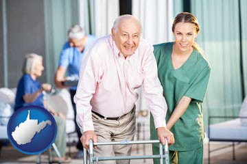 nursing care in a nursing home - with West Virginia icon